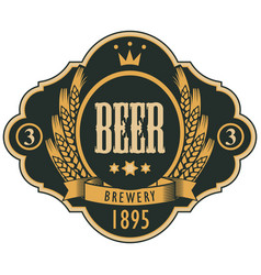 label for beer with coat of arms in curly frame vector image vector image