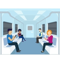 People are using gadgets in the subway vector image
