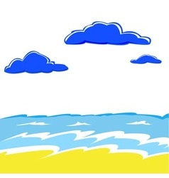 sea waves and cumulus clouds over water vector image vector image