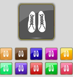 shoes icon sign Set with eleven colored buttons vector image vector image