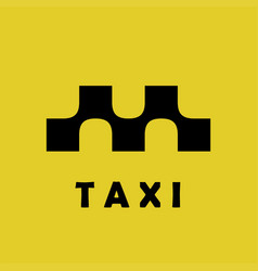 taxi logo sign squares with smooth connections vector image vector image