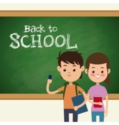 Back to school boy and girl student and board vector