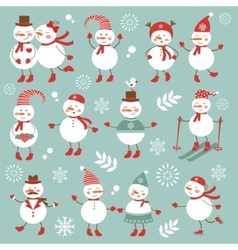 Cute snowmen collection vector image vector image