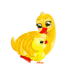 duck mother and duckling vector image