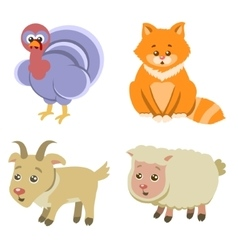 Farm Animals Icons on White Background in Flat vector image vector image