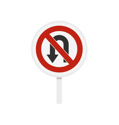 no u turn traffic sign icon flat style vector image