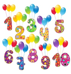 Numbers with balloons vector image