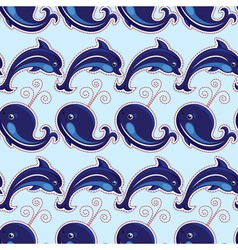 seamless whale dolphin 380 vector image vector image
