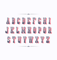 serif bold two color retro font with red shadow vector image
