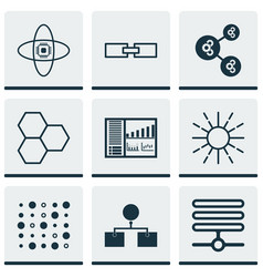 set of 9 machine learning icons includes variable vector image
