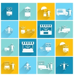 Street food icon flat white vector image
