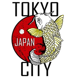 Tokyo city and gold fish poster design vector