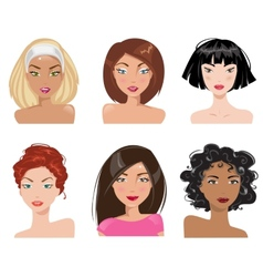 A collection of portraits of women vector image
