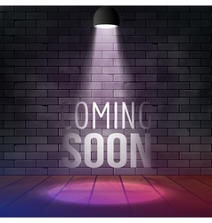 Coming soon message illuminated with light vector image