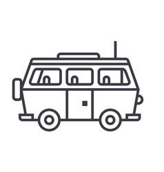 minivan travelfamily car line icon sign vector image