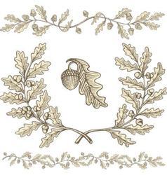oak wreath vector image vector image