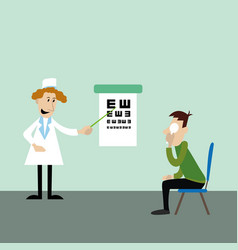 patient on the test at the eye doctor vector image