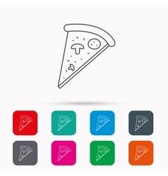 Pizza icon Piece of Italian bake sign vector image vector image