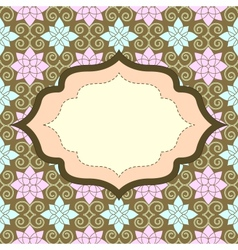 Retro invitation with seamless pattern vector image vector image