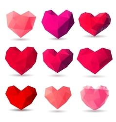 Set of heart gem symbols vector image