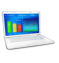 website traffic analysis on laptop screen vector image