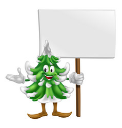 christmas tree mascot with sign vector image