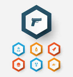 combat icons set collection of order cranium vector image vector image