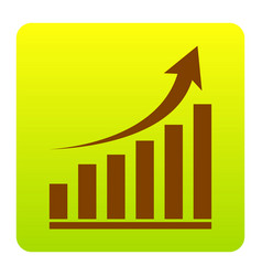 growing graph sign brown icon at green vector image