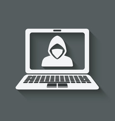 hacker in mask on laptop screen vector image vector image