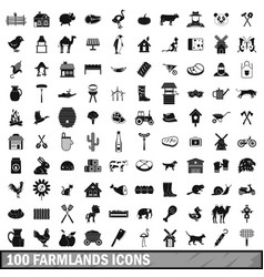 100 farmlands icons set simple style vector