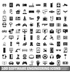 100 software engineering icons set simple style vector