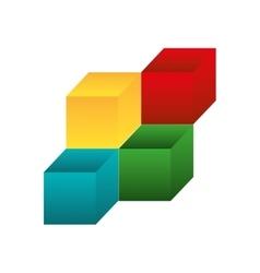 3d cubes icon vector