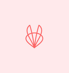 abstract linear fox bunny ears logo design vector image