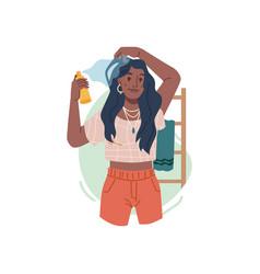 Afro american woman applying hair care spray toner vector