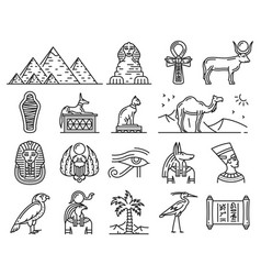 Ancient egypt gods travel and religion symbols vector