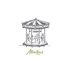 attraction carousel fun entertainment park vector image
