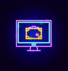 baggage check suitcase neon sign vector image