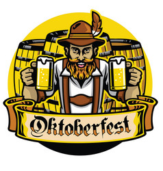 Bearded bavarian man with beer barrel vector