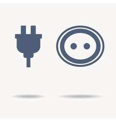 Blue plug and socket icons Single flat icon on vector