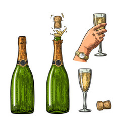 bottle of champagne explosion and hand hold glass vector image