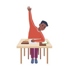 boy kid raising hand at lesson child desk vector image
