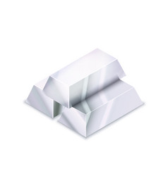 Bright stack three realistic glossy silver bars vector