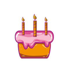 cake pastel with candles decoration celebratetion vector image