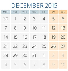 Calendar 2015 December design template vector