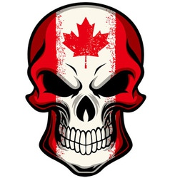 Canada flag painted on skull vector