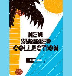 Card with lettering new summer collection in vector
