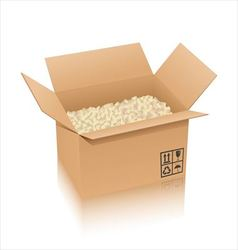 Cardboard box and cushioning material vector