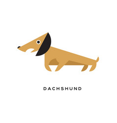 cartoon brown dachshund puppy character icon vector image
