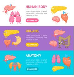 cartoon internal organs funny emotions banner vector image