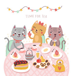 Cats and tea vector